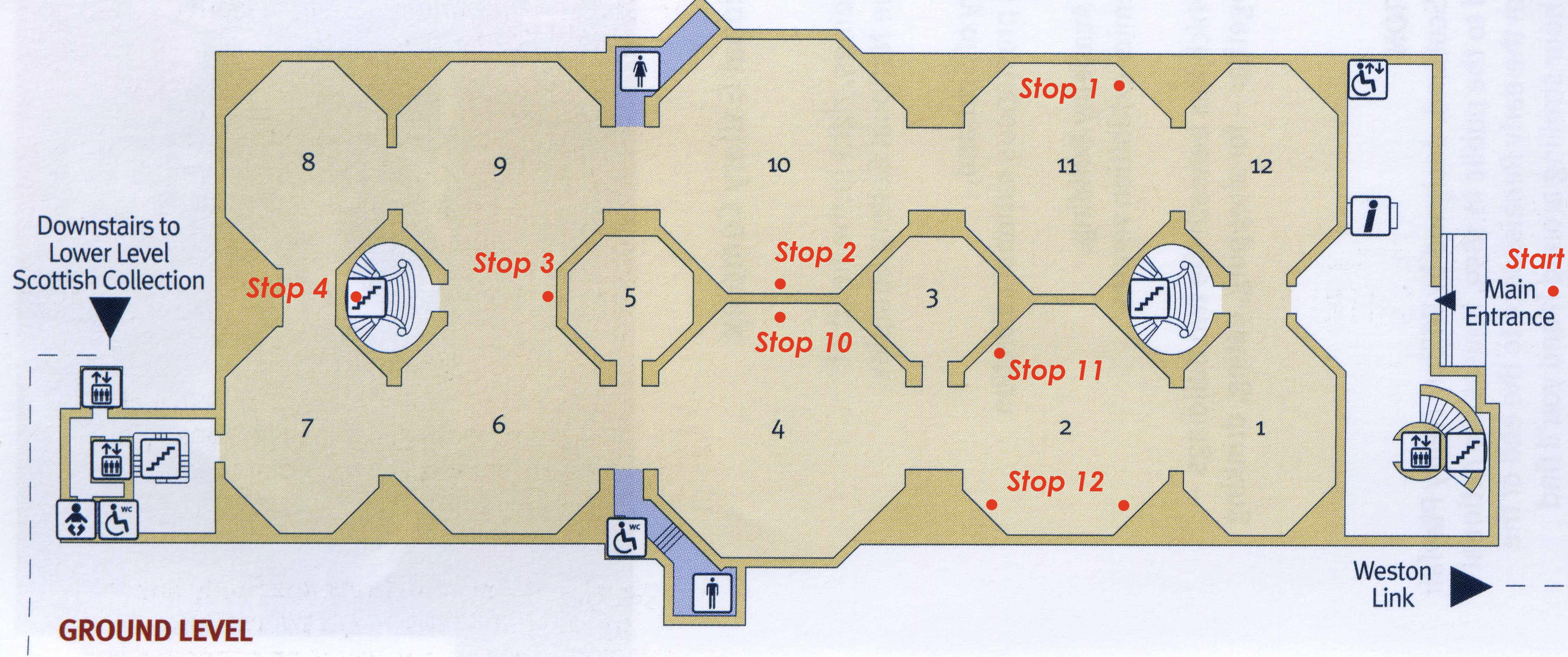 Ground floor plan with tour stopping points