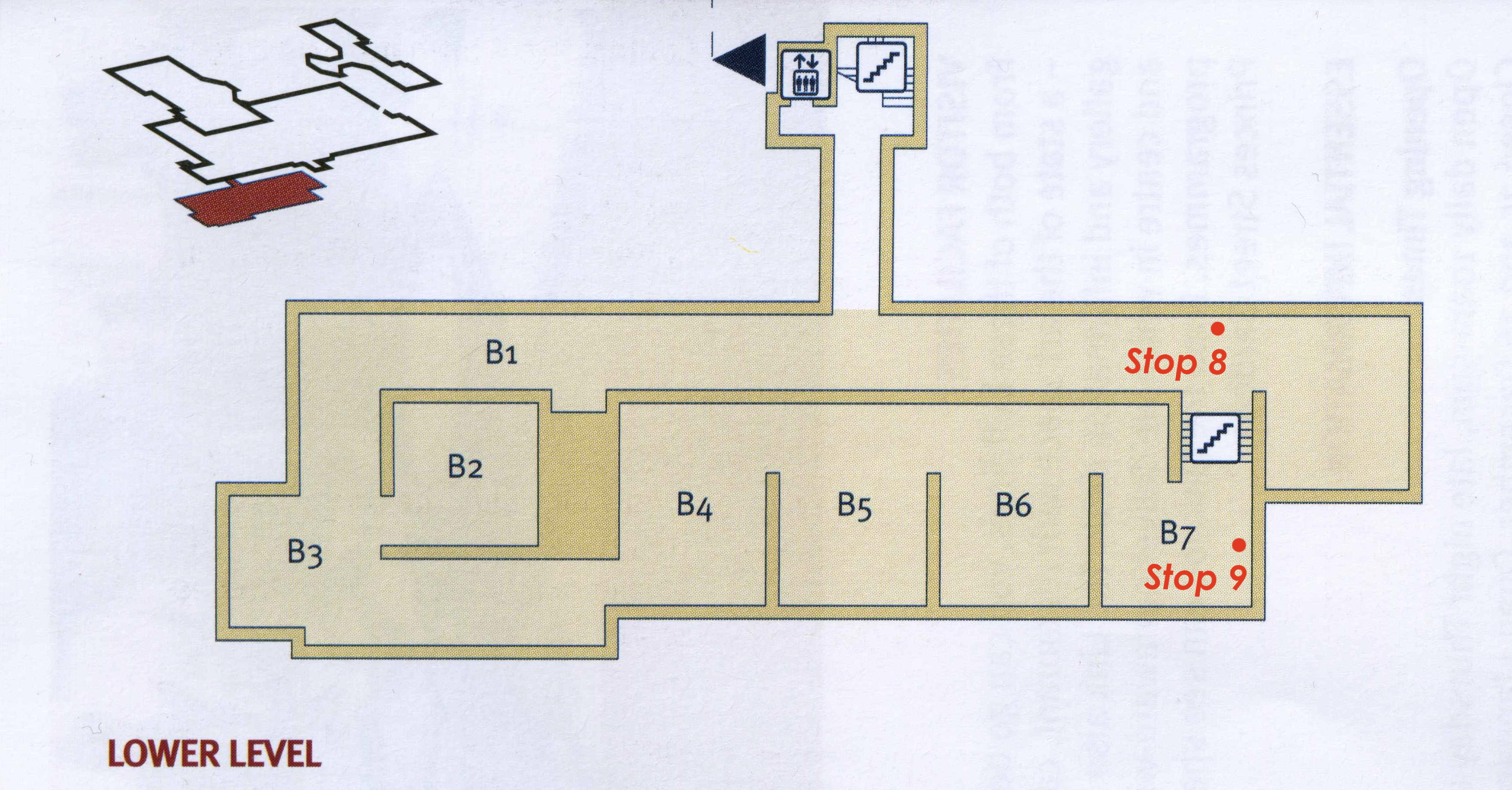 Lower floor plan with tour stopping points