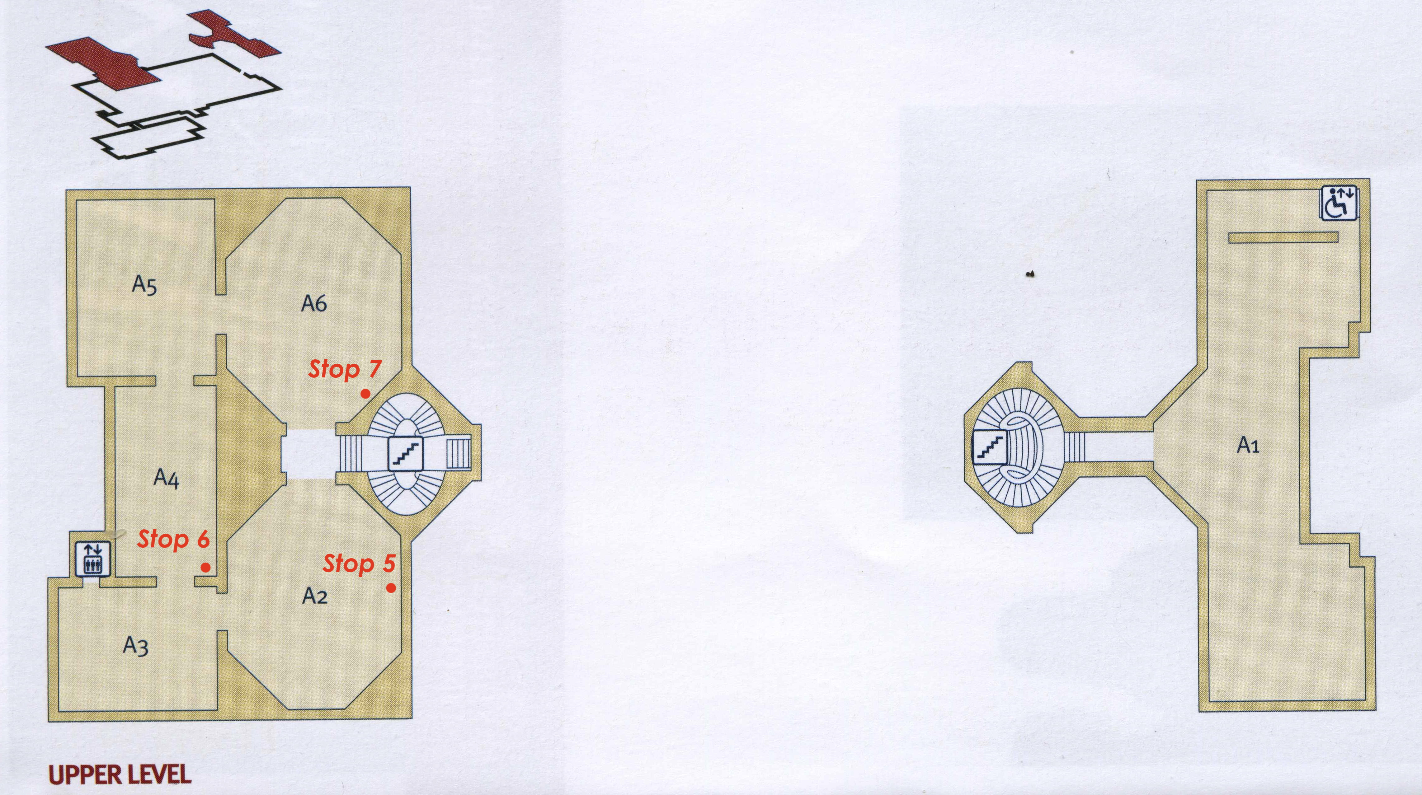 Upper floor plan with tour stopping points
